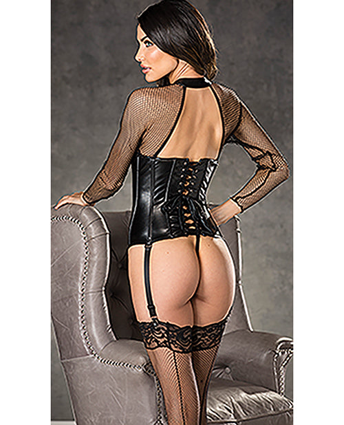 Fishnet & Faux Leather Corset W/zipper Front, Garters & G-string Black - Casual Toys