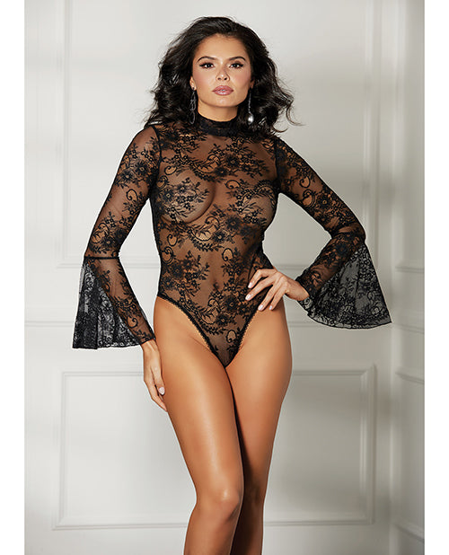 Sheer Floral Bell Sleeved Teddy Black - Casual Toys
