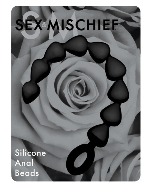 Sex & Mischief Silicone Anal Beads - Black - Casual Toys