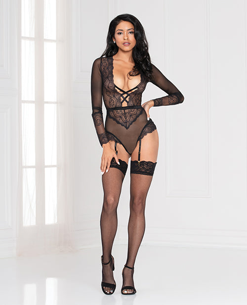 Lace Snap Crotch Teddy W/removable - Casual Toys