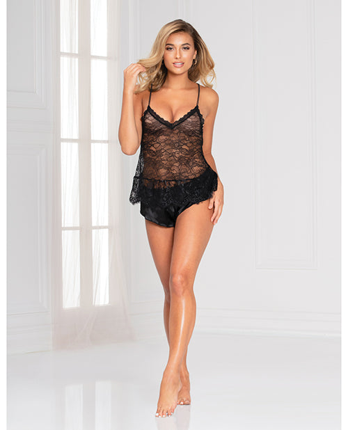 Floral Lace Cami & Cheeky Satin Short Black - Casual Toys