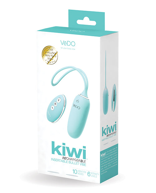 Vedo Kiwi Rechargeable Insertable Bullet - Tease Me Turquoise - Casual Toys