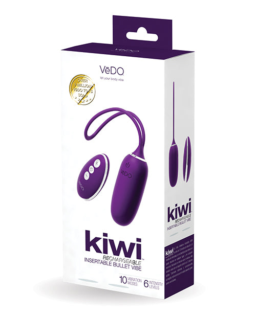 Vedo Kiwi Rechargeable Instertable Bullet - Deep Purple - Casual Toys