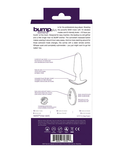 Vedo Bump Plus Rechareable Remote Control Anal Vibe - Deep Purple - Casual Toys