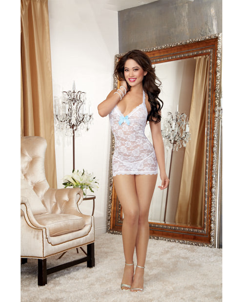 Stretch Lace T-back Chemise W-pearl Strand Accent & Lace Thong White O-s - Casual Toys