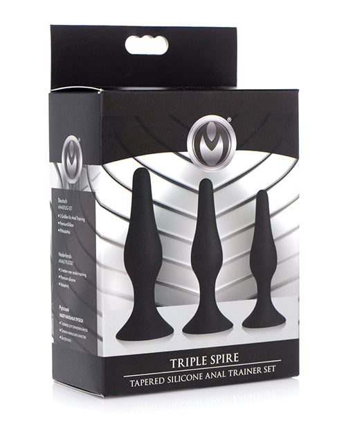 Master Series Triple Tapered Silicone Anal Trainer - Black Set Of 3