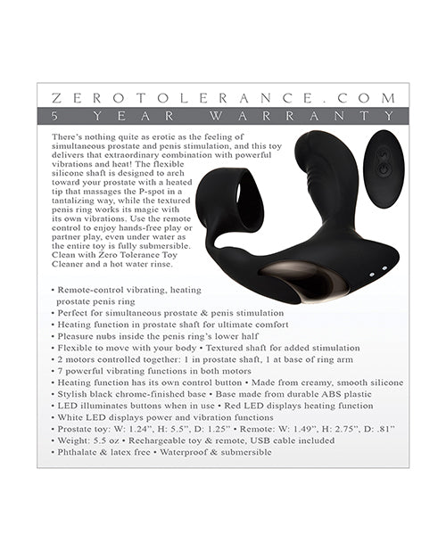 Zero Tolerance Strapped & Tapped Rechargeable Prostate Vibrator - Black - Casual Toys