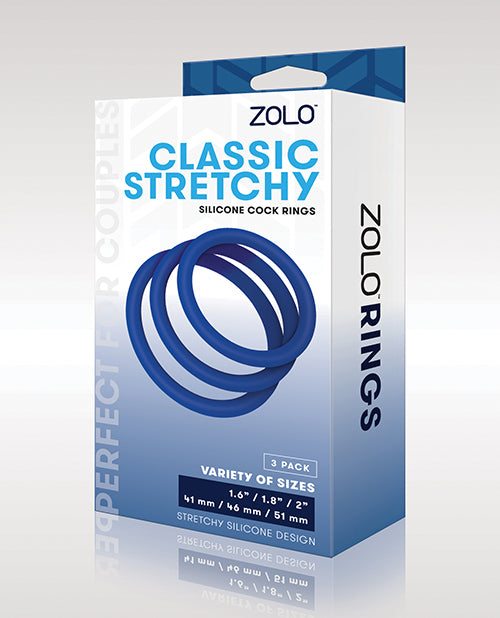 Zolo Stretchy Silicone Cock Rings - Blue - Casual Toys