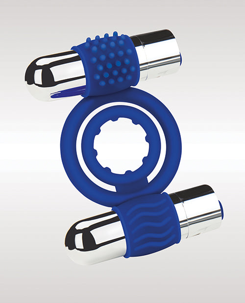 Zolo Duo Vibrating Cock Ring - Blue - Casual Toys