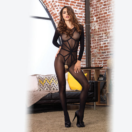 2pc Opaque Long Sleeved Bodystocking w-Harness Teddy Overlay O-S Black - Casual Toys