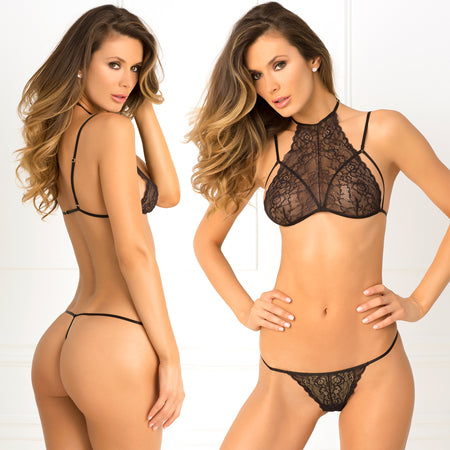 2pc Most Wanted Lace Bra & G-String Set Medium-Large (Black) - Casual Toys
