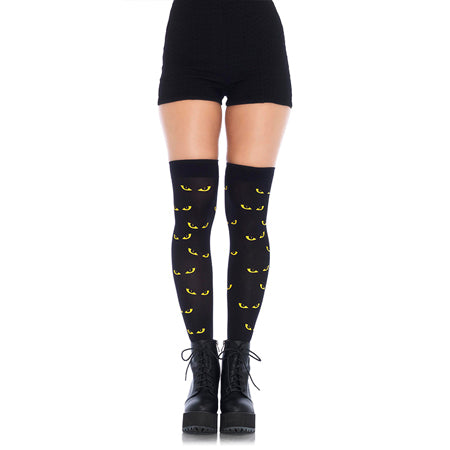 Spooky Eyes Printed Opaque Thigh Highs O-S Black-Yellow - Casual Toys