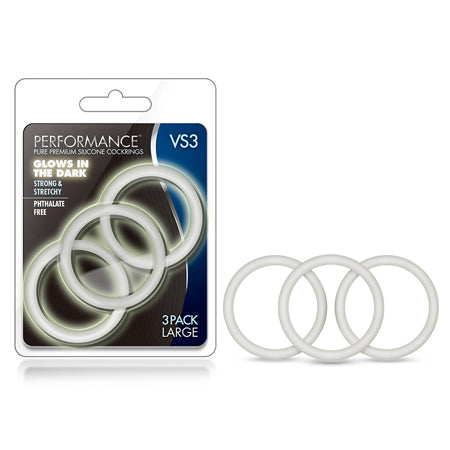 Performance - VS3 Pure Premium Silicone Cockrings - Large - White - Casual Toys