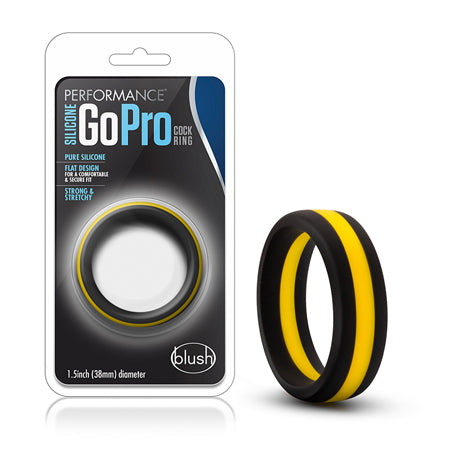 Performance - Silicone Go Pro Cock Ring - Black-Gold-Black - Casual Toys