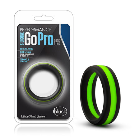 Performance - Silicone Go Pro Cock Ring - Black-Green-Black - Casual Toys