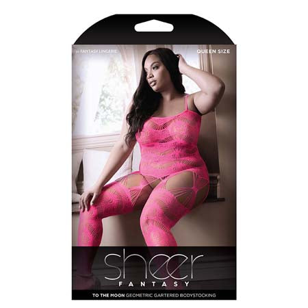 Sheer TO THE MOON MULTI GARTER BODYSTOCKING Queen Neon Pink - Casual Toys