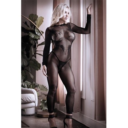 Sheer Unleash Me Long Sleeve Dragon Knit Footless Bodystocking OS Black - Casual Toys
