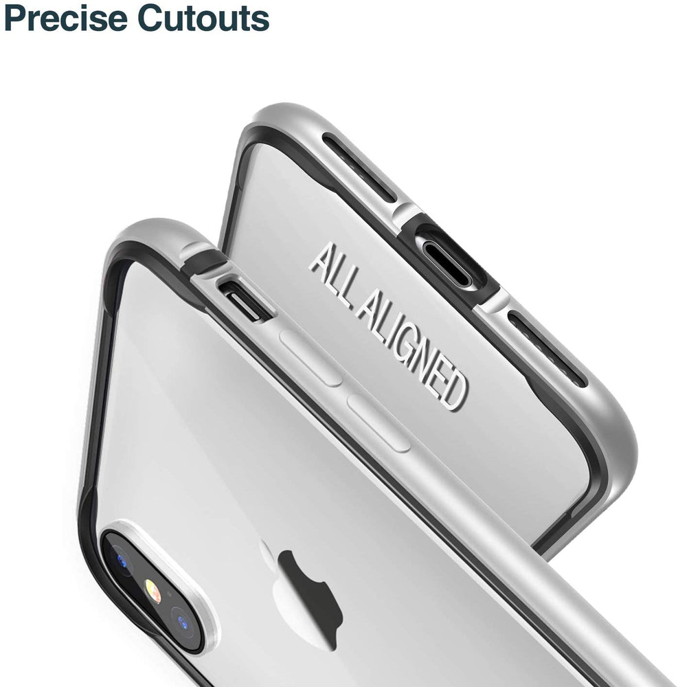 RANVOO iPhone Xs Case/iPhone X Case, Hard Slim Thin Case Protective Bumper with Soft TPU Inner Frame Compatible for iPhone Xs/iPhone X-Silver