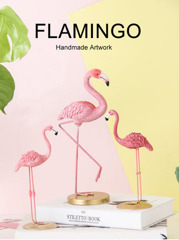 Pink Flamingo Cute Animal Shaped Resin Ornament Tabletop Living Room  Decoration