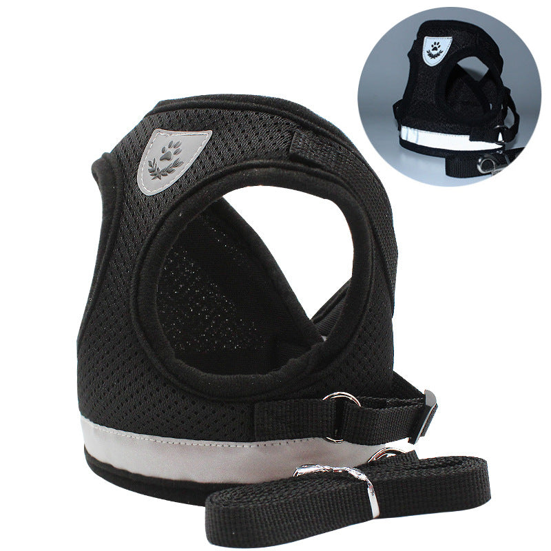 Reflective Safety Pet Dog Harness and Leash Set for Small Medium Dogs