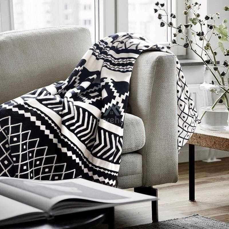 Nordic Knitted Geometric Pattern Cotton Sofa Blanket-Blankets & Throws-Adorehouse.com
