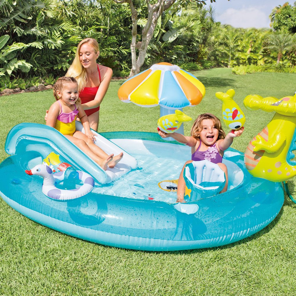 Inflatable Pool with Slide Water Play Center with Slide