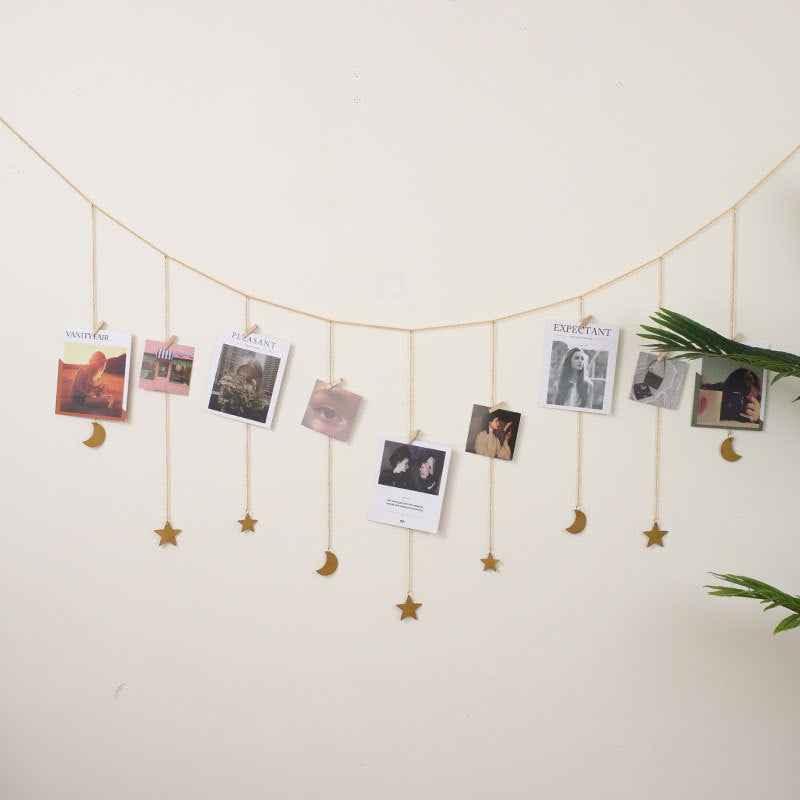 Hanging Photo Display Wood Stars Garland with Chains Picture Frame Collage