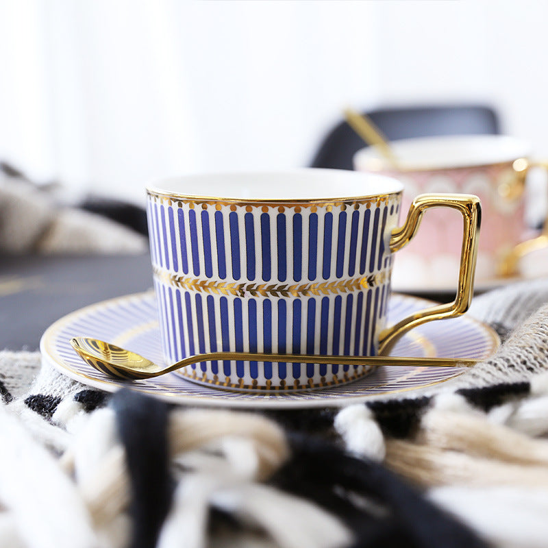 British Style Luxury Tea/Coffee Cup and Saucer Set with Gold Handel
