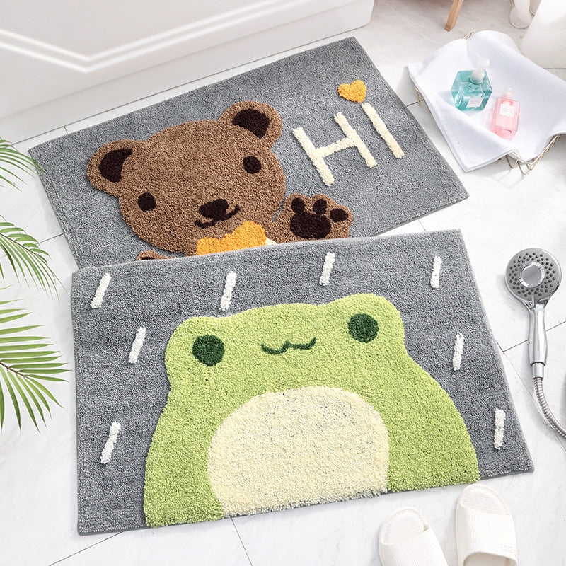 4 cartoon square flocking carpets