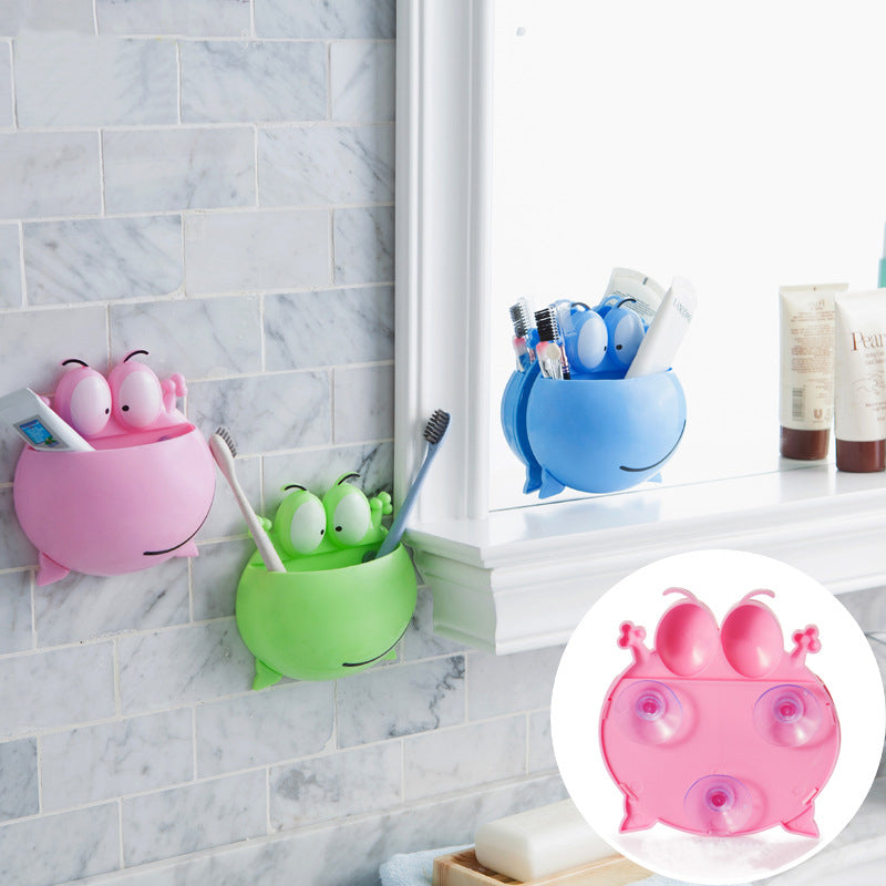 Frog sucker wall mounted toothbrush holder