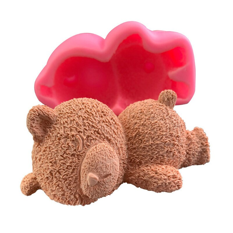 4 Inch Bear Silicone Cake ice cream Handmade Sleeping Bear Kitchen Tools
