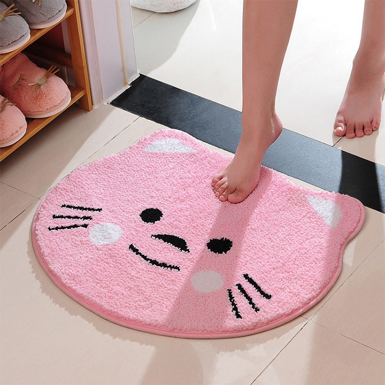 Cartoon cat face absorbing carpet