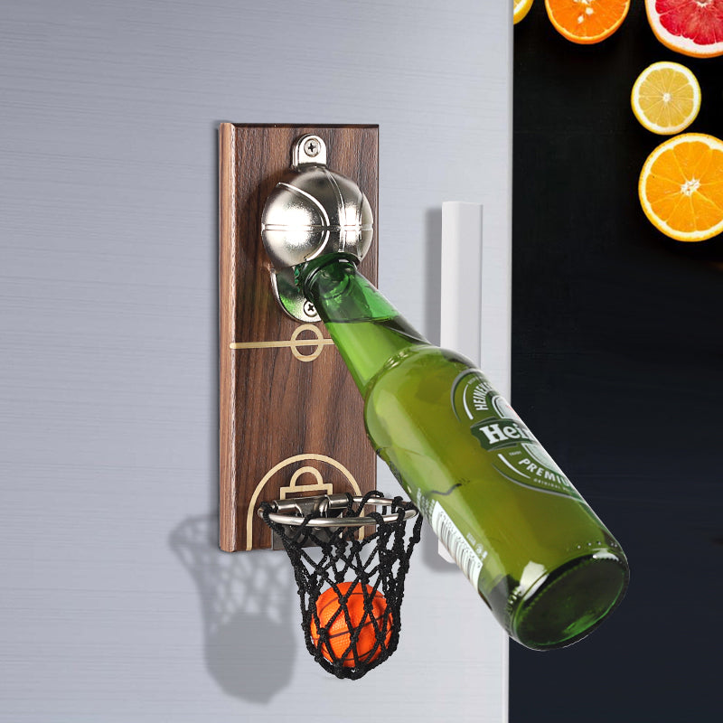 Bottle Opener Wall Mounted with Magnetic Basketball Bottle Opener Cap Catcher