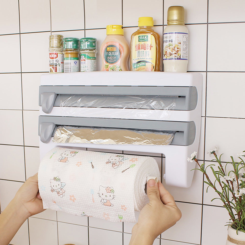 Wall-Mounted Paper Towel Holder Cling Film Dispenser