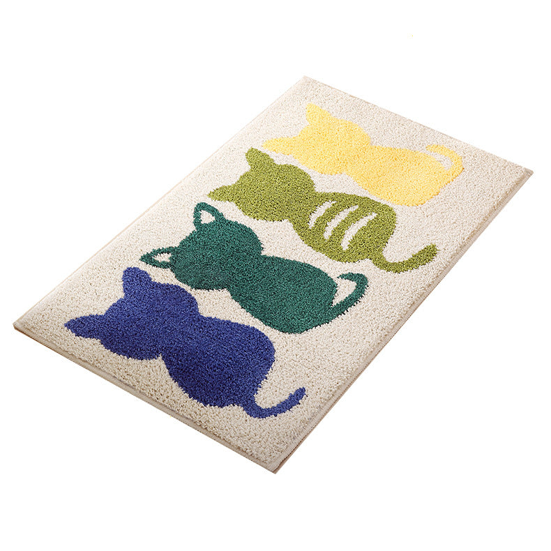 Cartoon cat bathroom absorbent pad square