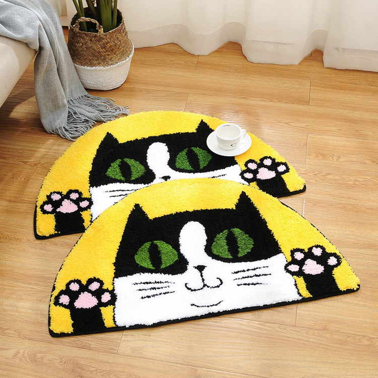 Half-round lucky cat absorbent mat