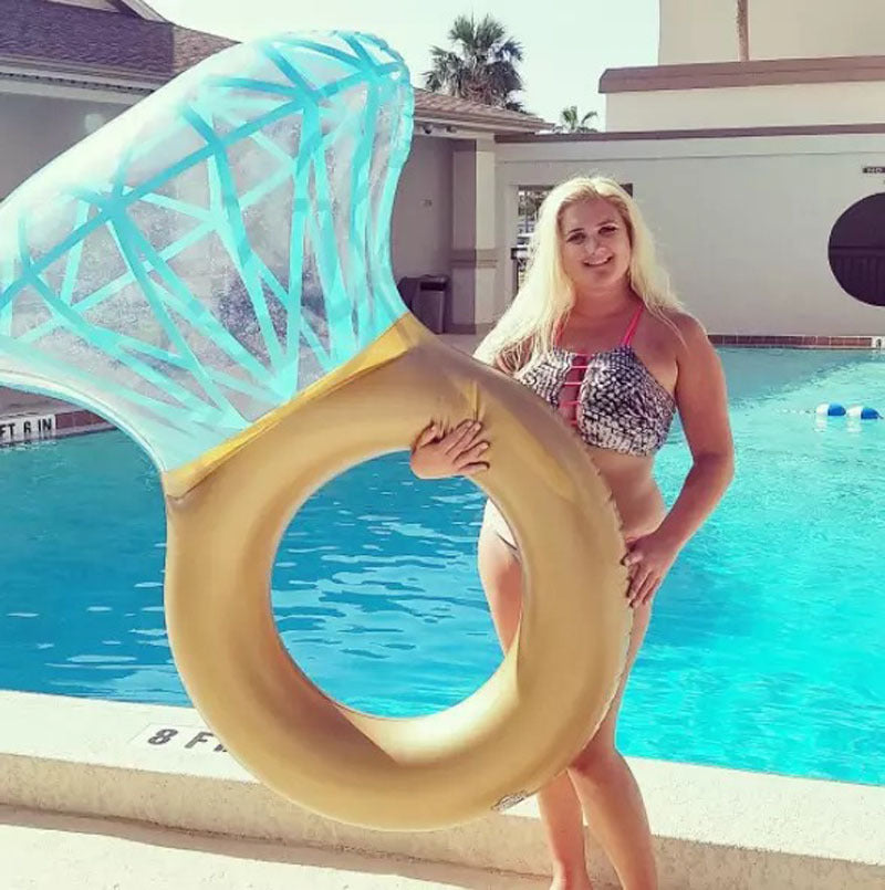 Inflatable Diamond Swimming Circle Raft Pool Float Ring For Adult