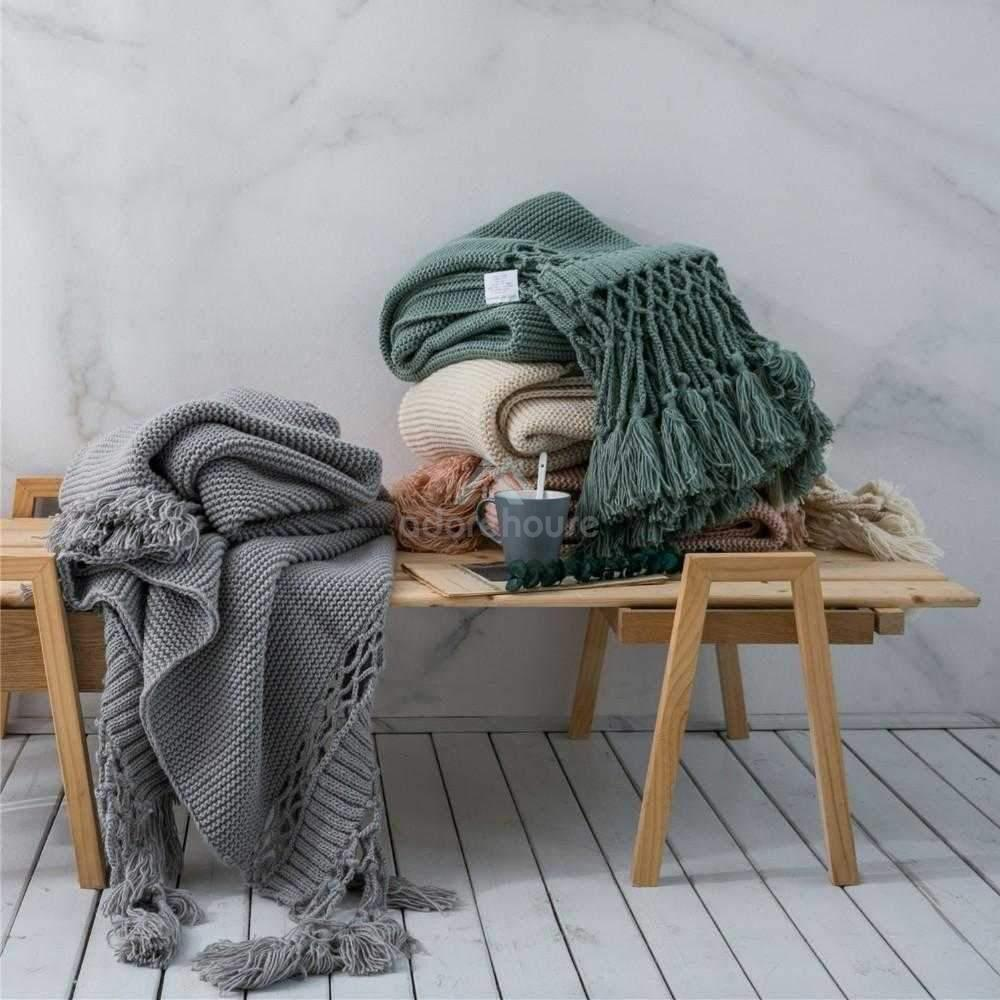 Hand-knitted Sofa Blanket Hollow Tassel Knitted Blanket-Blankets & Throws-Adorehouse.com