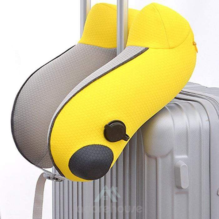 Travel Inflatable Neck Pillow Memory Foam U- Shaped Neck Pillow Neck Support Pillow-Decorative Pillows-Adorehouse.com