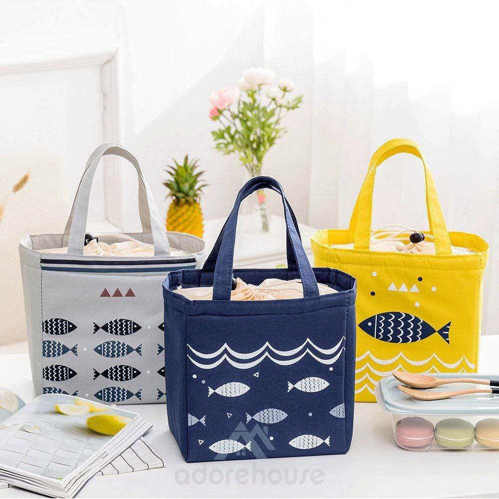 Portable Drawstring Lunch Tote Bag Picnic Bag Cooler Insulated Handbag Food Storage Container-Lunch Bag-Adorehouse.com