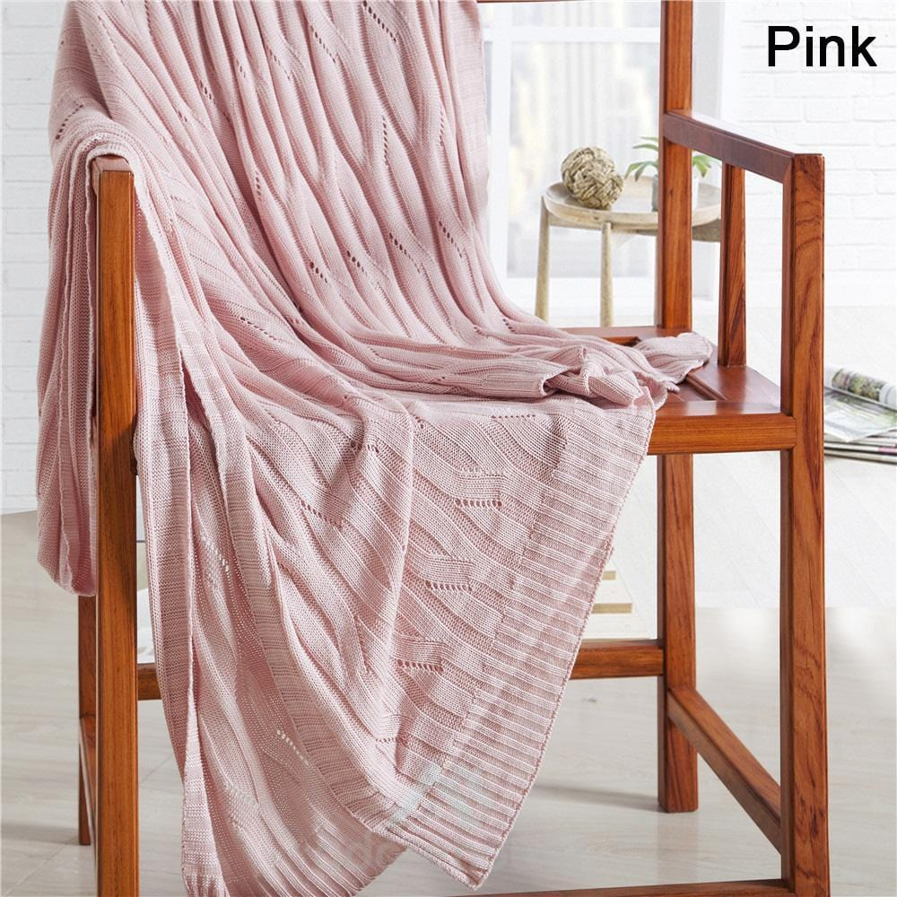 Textile Bamboo Fiber Knitting Line Blanket Sofa Blanket Air Conditioning Blanket-Blankets & Throws-Adorehouse.com