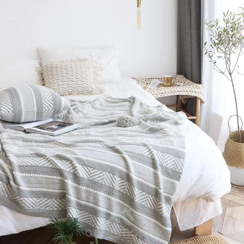 Nordic Knitted Geometric Pattern Throw Blanket-Blankets & Throws-Adorehouse.com