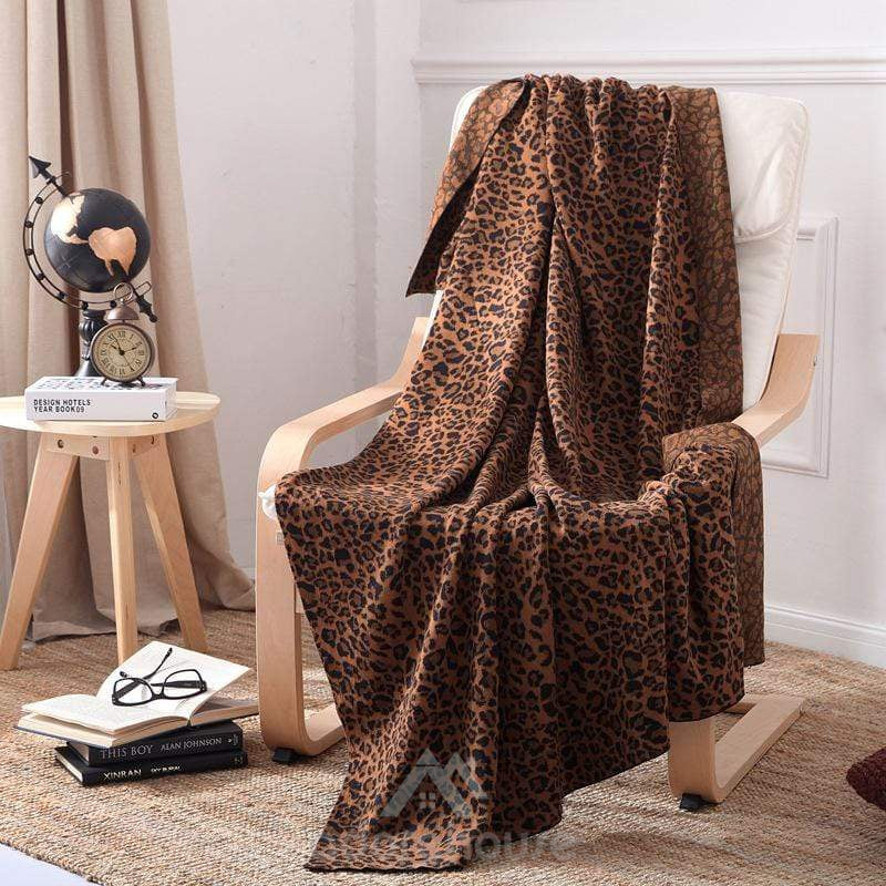 Chic Leopard Pattern Knitted Blanket-Quilts & Bedspreads-Adorehouse.com
