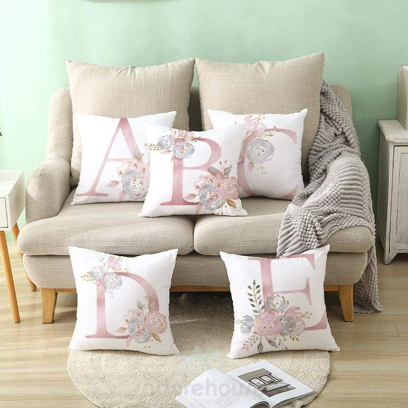 Pink Letter Decorative Pillow Cushion Covers Pillowcase Cushions for Sofa Pillowcover-Decorative Pillows-Adorehouse.com