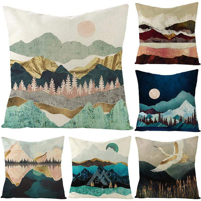 Hand-Painted Cushion Cover Linen Throw Pillow Car Home Decoration Decorative Pillowcase-Decorative Pillows-Adorehouse.com