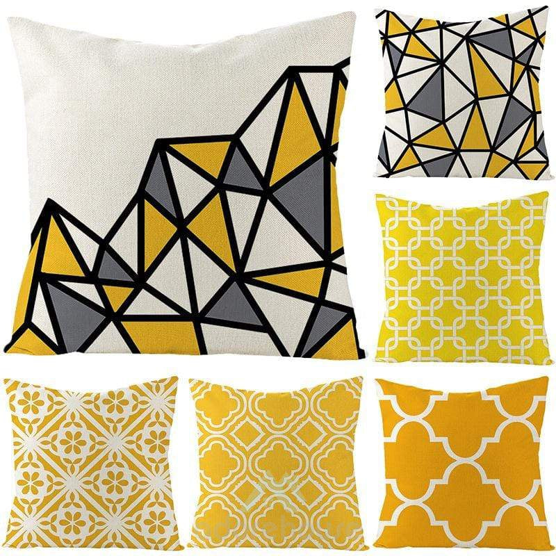 Decorative Square Throw Pillow Covers Yellow Cushion Cases Pillowcases for Couch Sofa-Decorative Pillows-Adorehouse.com