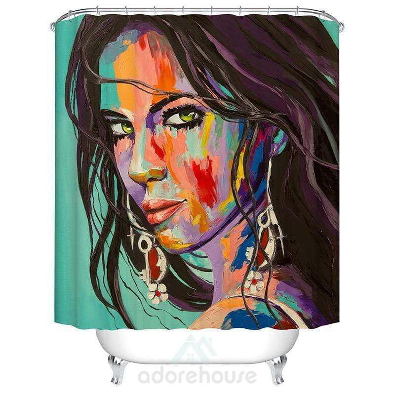 Woman Avatar Pattern Bath Curtain-Shower Curtains-Adorehouse.com