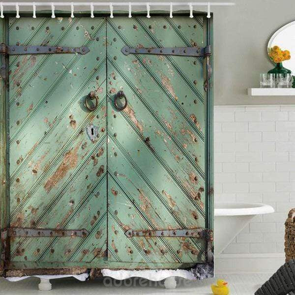 Nostalgic Style Old Wooden Door Bathroom Curtain Mildew Waterproof Shower Curtain-Shower Curtains-Adorehouse.com