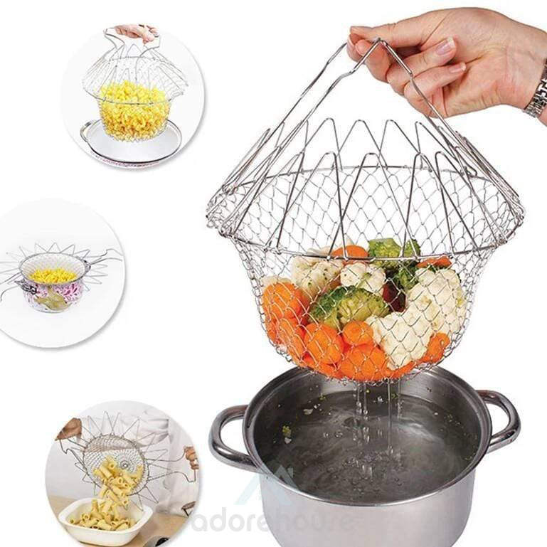 Stainless Steel Foldable Steam Rinse Strain Fry Basket-Kitchen Tools & Gadgets-Adorehouse.com