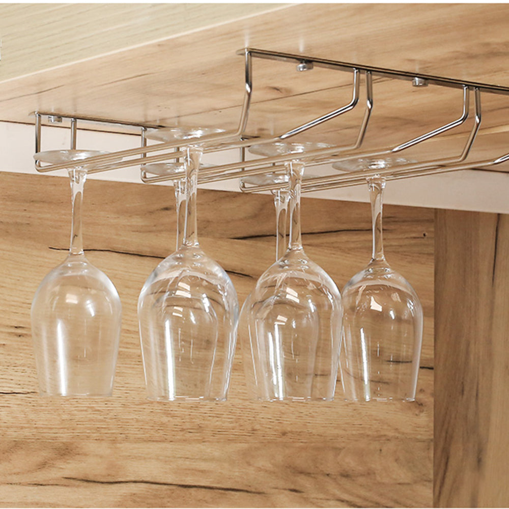 Wall Wine Holder Stainless Steel Wine Glass Holder Hanging Rack Bar Cups Storage